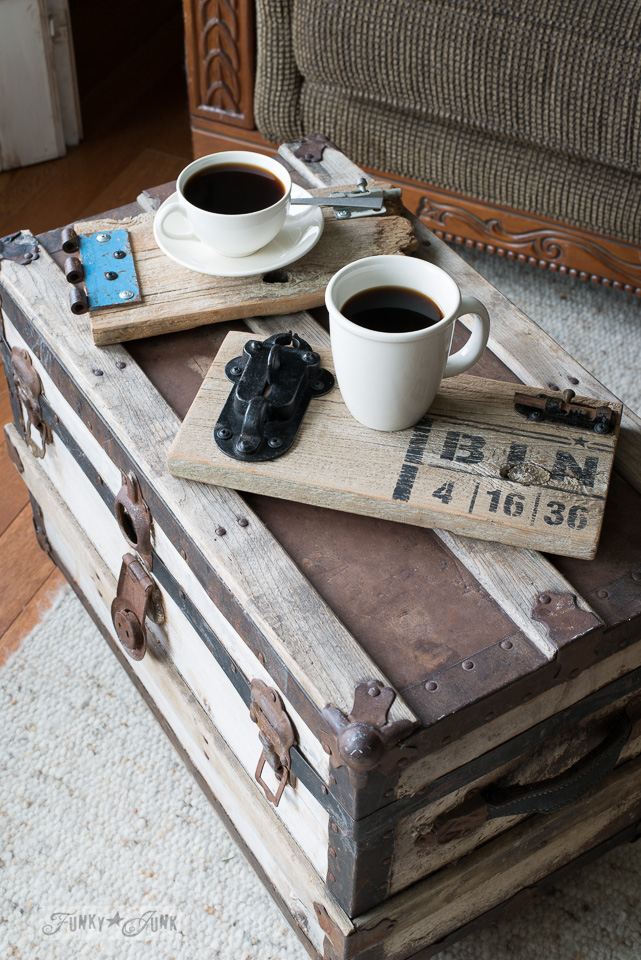 Reclaimed wood gate coasters on a trunk coffee table / with BINGO : Funky Junk's Old Sign Stencils : funkyjunkinteriors.net