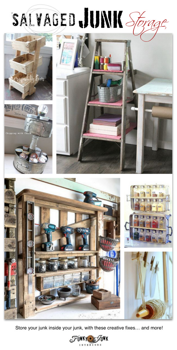 Salvaged Junk Storage - cool organizing ideas with upcycled finds! On funkyjunkinteriors.net. Click for much more!