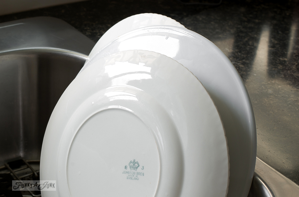 clean, white dishes / funkyjunkinteriors.net