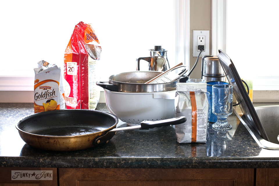 messy kitchen counters / funkyjunkinteriors.net