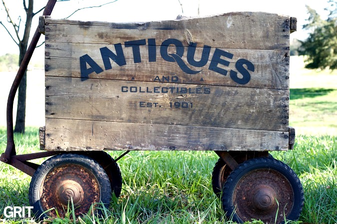 Antiques Crate Wagon, by Grit Antiques, featured on Funky Junk Interiors