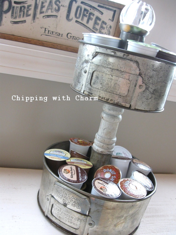 K-Cup Baking Pan Storage Stand, by Chipping with Charm, featured on Funky Junk Interiors