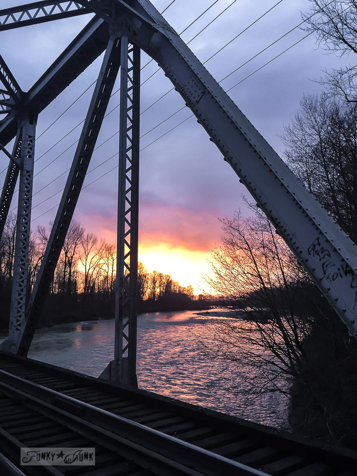sunset on a train bridge in Chilliwack / funkyjunkinteriors.net