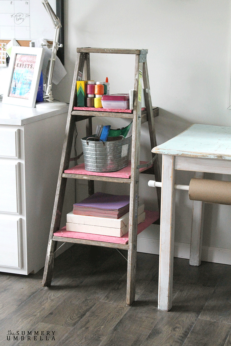 DIY Kids Storage Ladder for crafts by The Summery Umbrella, featured on Funky Junk Interiors