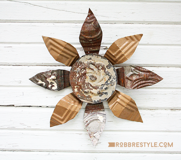 Repurposed Vintage Tin Ceiling Wall Decor by Rob Restyle, featured on Funky Junk Interiors