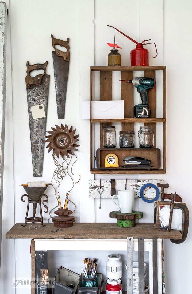 rusty tool themed workstation / funkyjunkinteriors.net