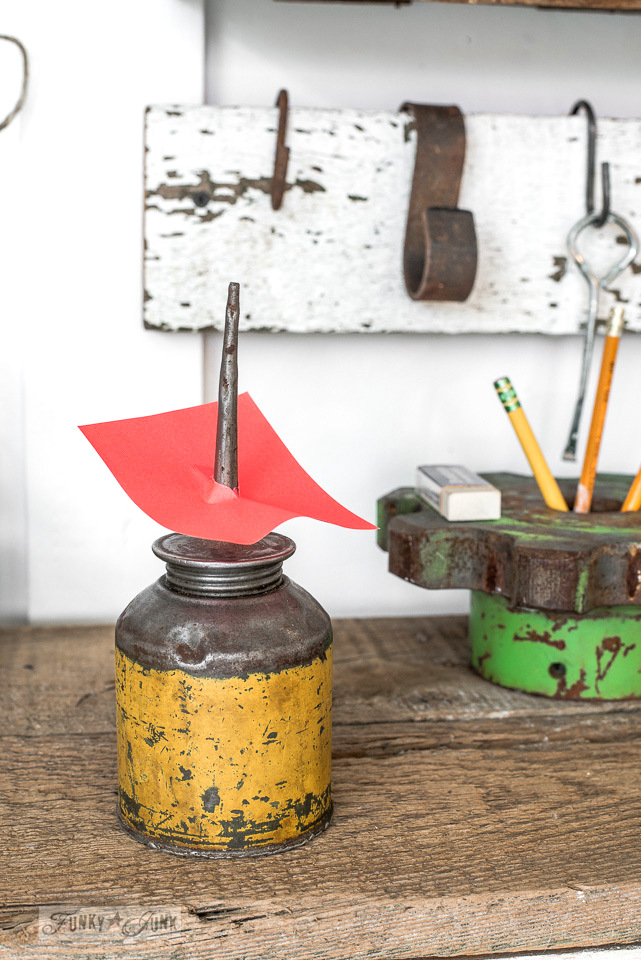 Oil can recipet holder / A rusty tool themed work station for organizing tools and office gear / funkyjunkinteriors.net