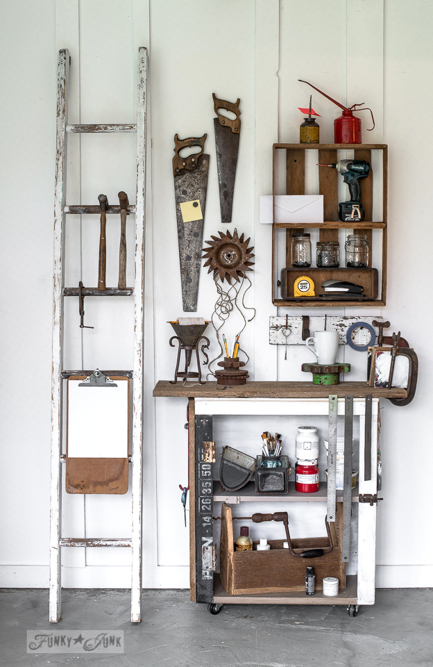 rusty tool themed workstation : funkyjunkinteriors.net
