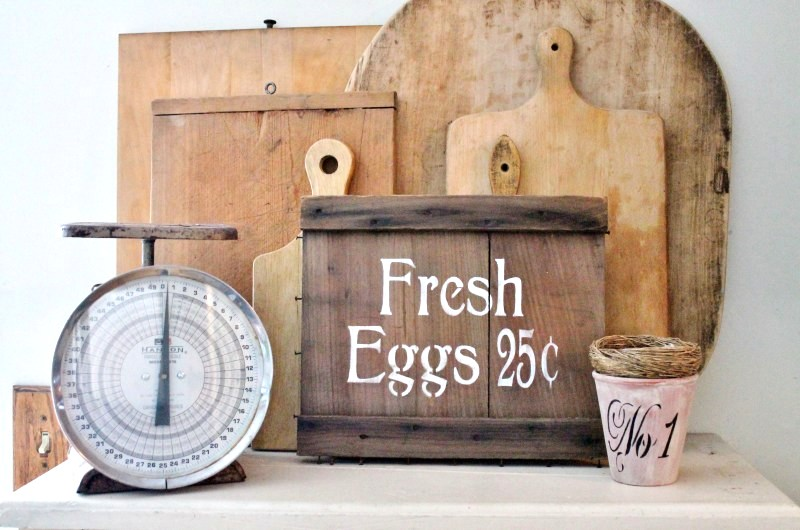How to make a farmhouse sign on a crate end, by Adirondack Girl at Heart, featured on Funky Junk Interiors