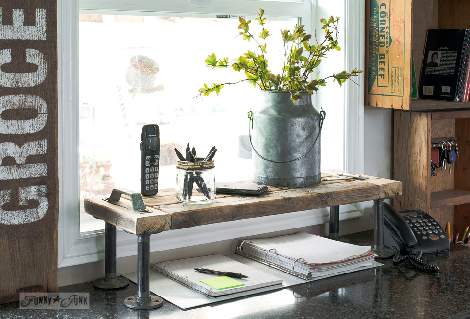 Learn how to double counter space by making this coffee-themed 2x4 industrial kitchen phone station shelf with Funky Junk's Old Sign Stencils! #kitchen #shelf #shelves #shelving #industrial #farmhouse #funkyjunkinteriors