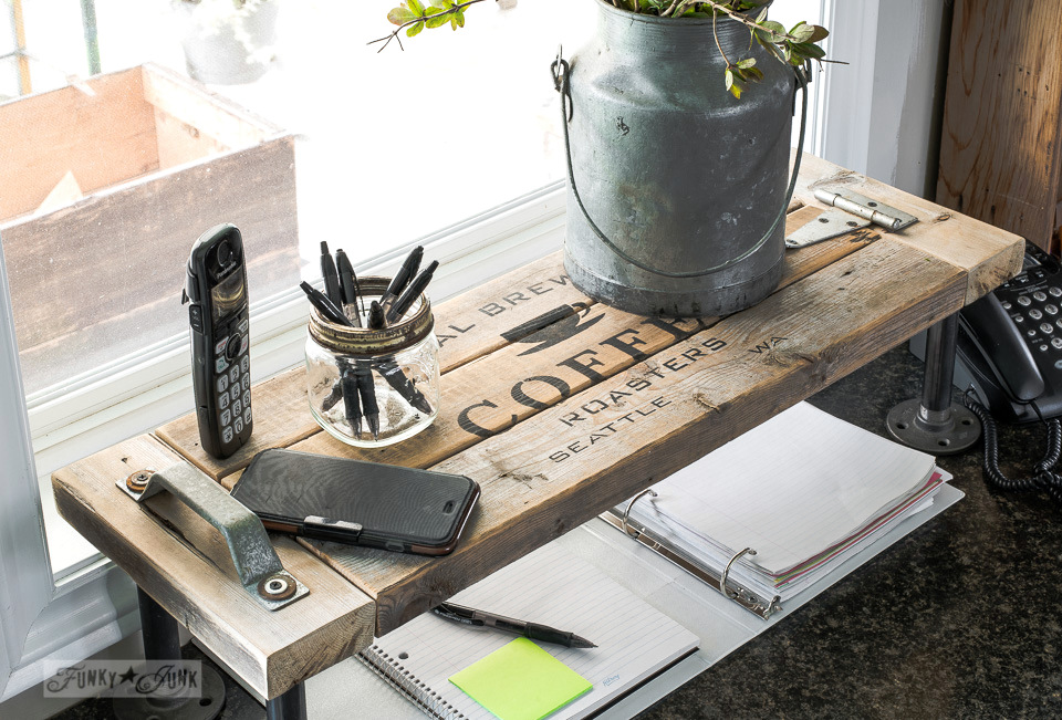 2x4 industrial kitchen phone station shelf using Funky Junk's Old Sign Stencils / funkyjunkinteriors.net