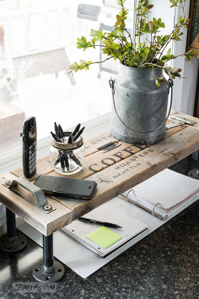 Coffee themed 2x4 and pipe industrial kitchen phone station shelf with Funky Junk's Old Sign Stencils | funkyjunkinteriors.net