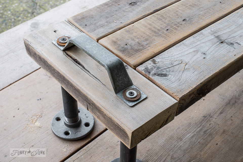 adding a door pull to a 2x4 industrial shelf / funkyjunkinteriors.net