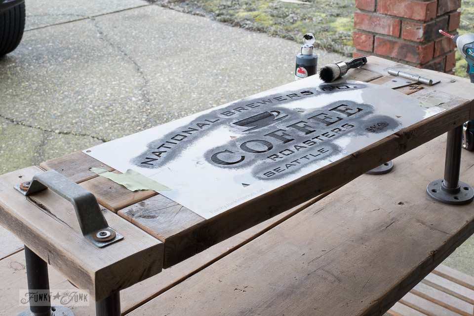 Stencilling A 2x4 Industrial Shelf With Funky Junku0027s Old Sign Stencils /  Funkyjunkinteriors.net