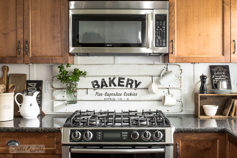 Learn how to make this charming BAKERY kitchen sign with scrap wood!