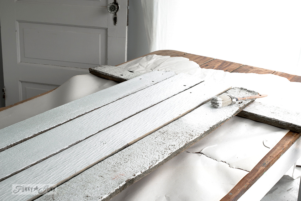 How to make a shiplap styled BAKERY sign with reclaimed wood using Funky Junk's Old Sign Stencils / funkyjunkinteriors.net