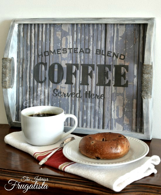 Coffee themed tray with faux wood backdrop using Funky Junk's Old Sign Stencils, by The Interior Frugalista, featured on Funky Junk Interiors