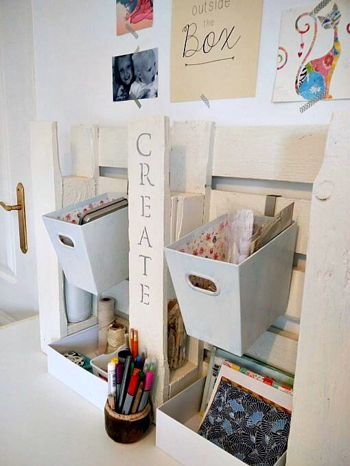 Pallet art station, by Kreativ K, featured on Funky Junk Interiors