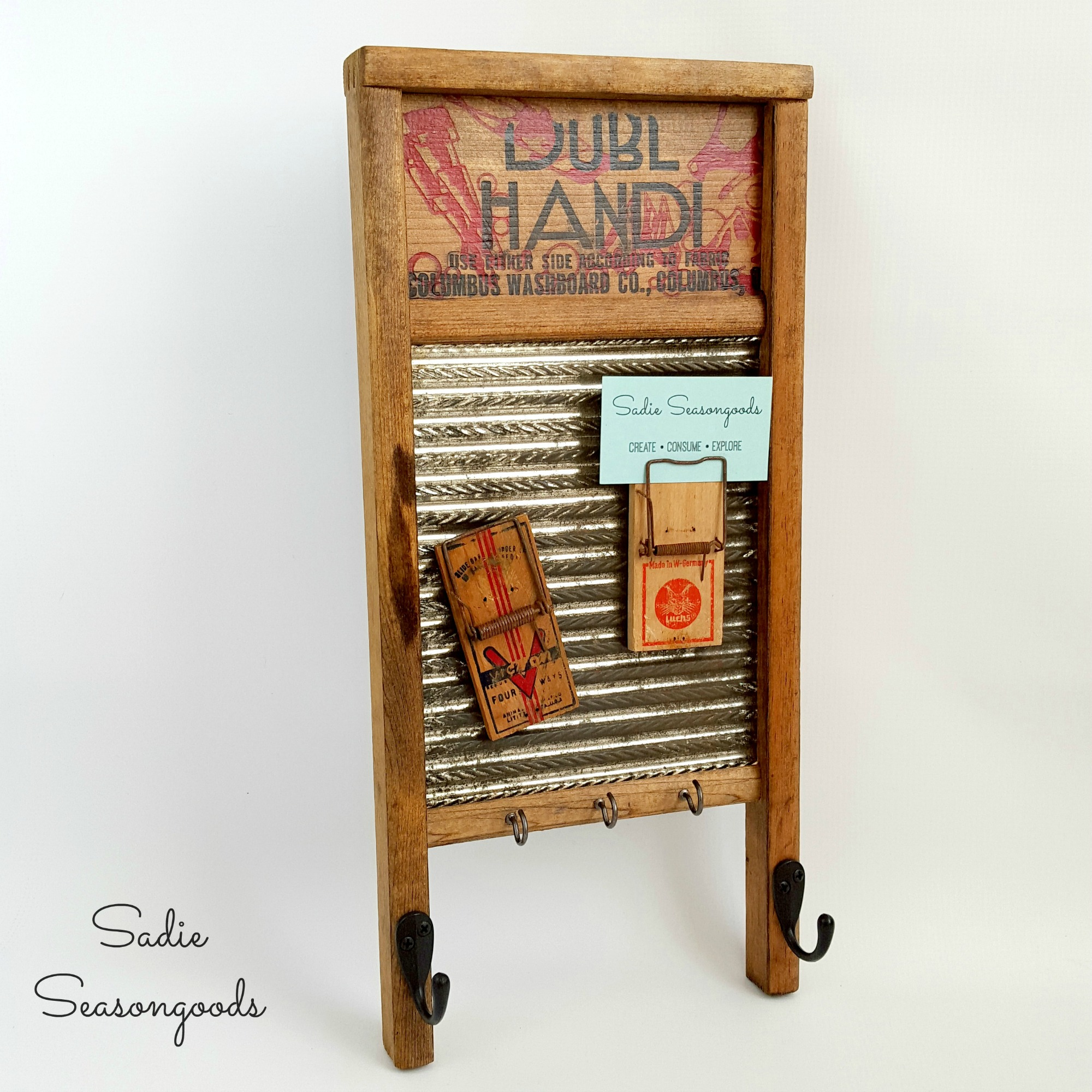 Vintage Washboard Magnetic Message Board & Mousetrap note holders, by Sadie Seasongoods, featured on Funky Junk Interiors