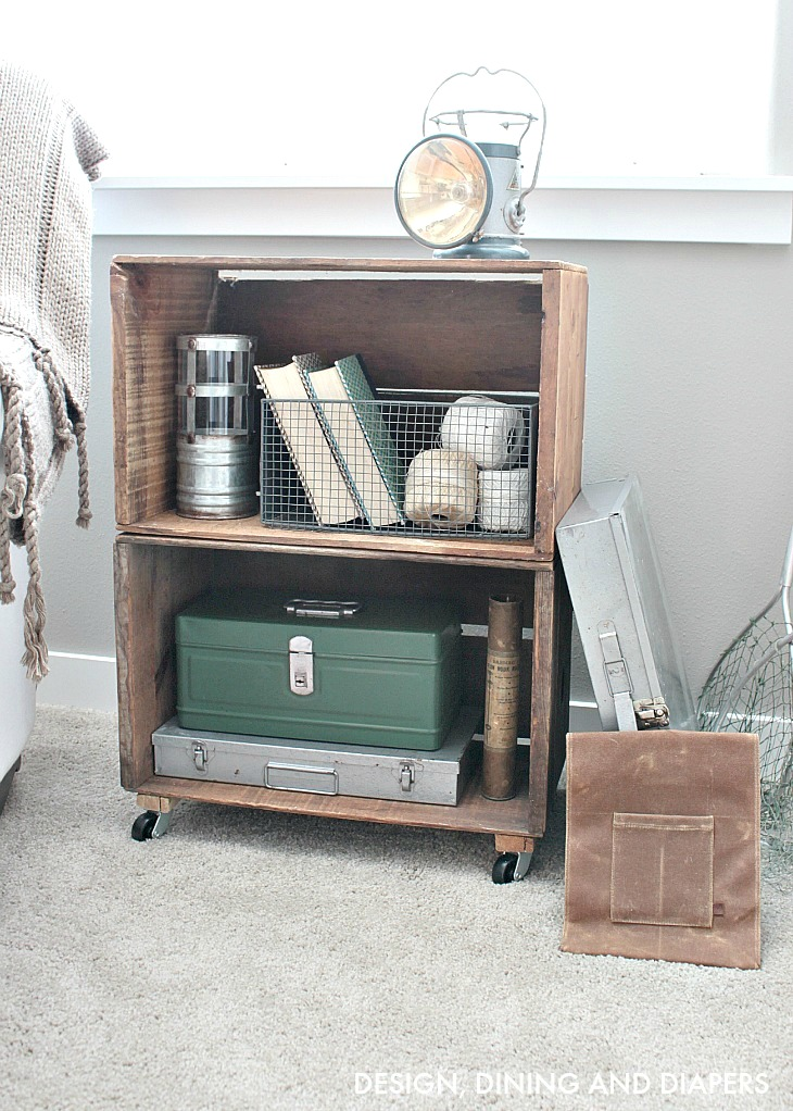 Stacked apple crate bookcase on wheels, by Design, Dining and Diapers, featured on Funky Junk Interiors
