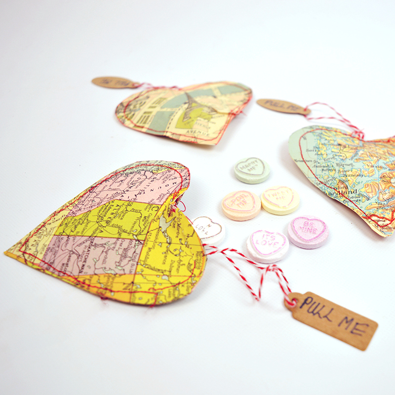 Personalized treat heart maps, by Pillar Box Blue, featured on Funky Junk Interiors