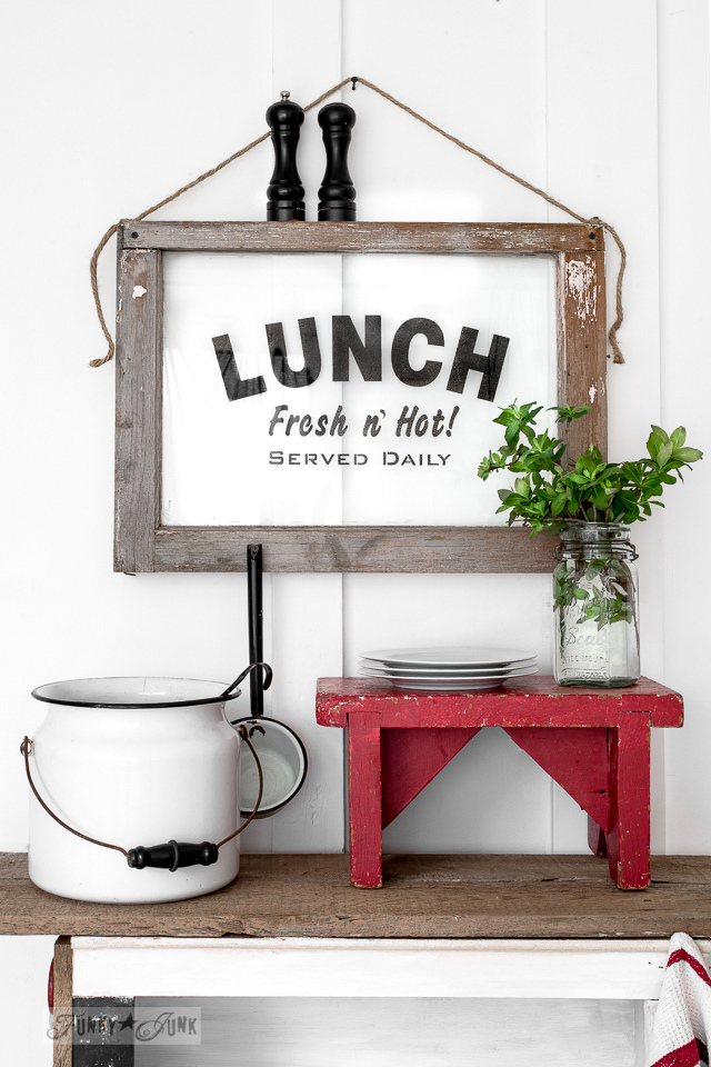 Learn how to make a Lunch sign on an old window with a LUNCH stencil from Funky Junk's Old Sign Stencils! Includes tips on how to stencil on glass. Click for full tutorial plus supply list! #stencils #signs #farmhouse #lunch #windows