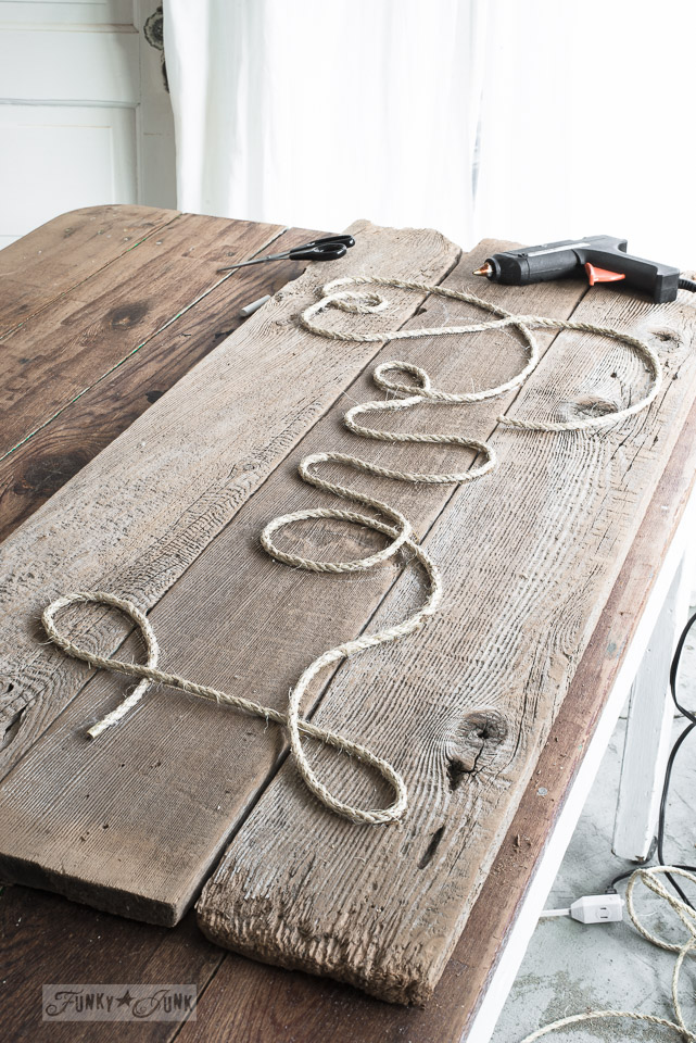 Learn how to make a reclaimed wood Love rope sign for Valentine's Day! #valentinesday #valentinesdayprojects #funkyjunkinteriors