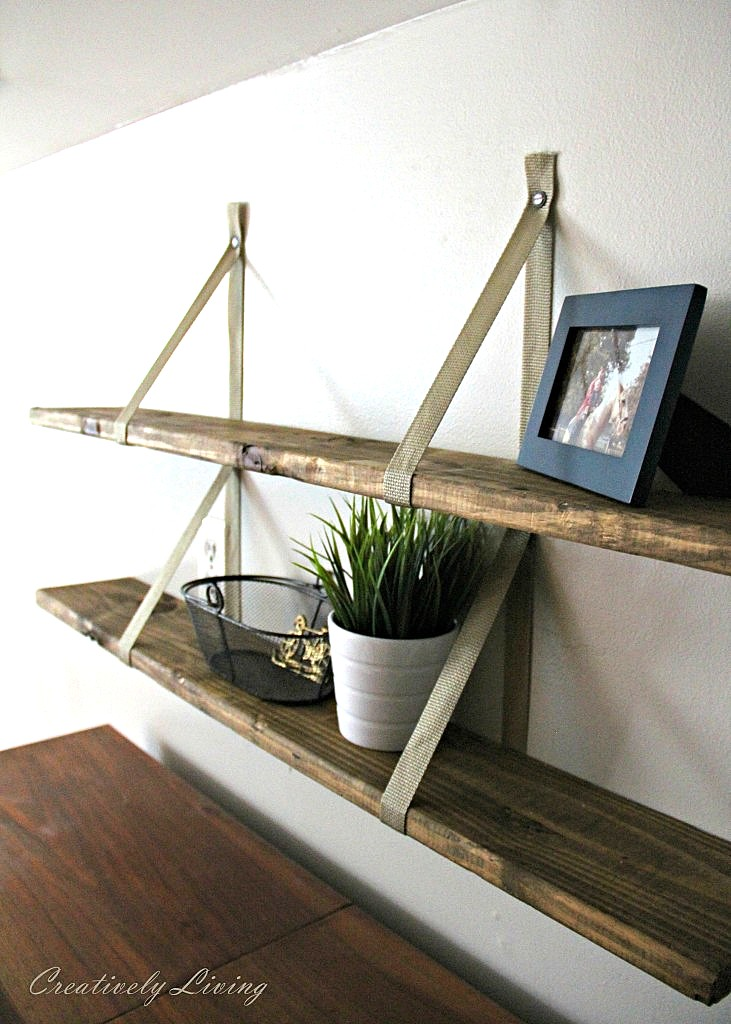 Rustic pallet wood storage shelves, by Creatively Living, featured on Funky Junk Interiors