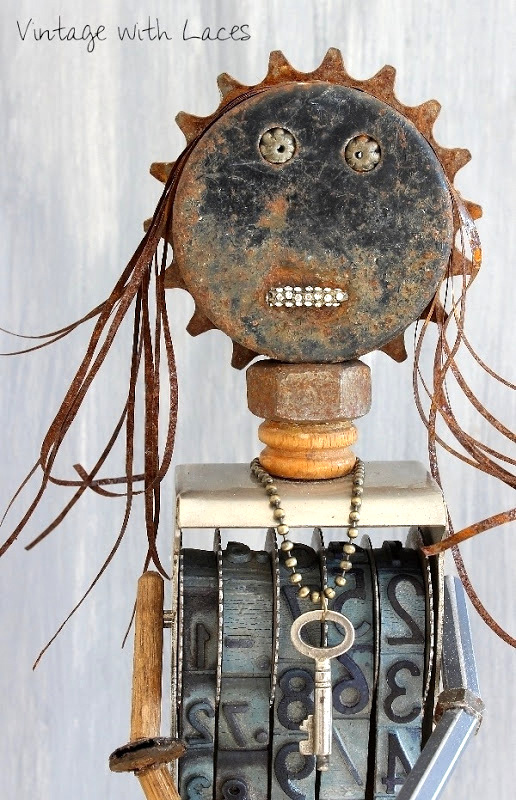 Junk assemblage girl, by Vintage with Laces, featured on Funky Junk Interiors