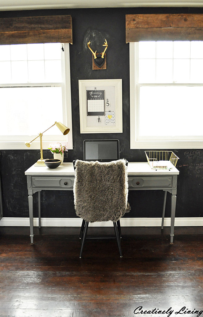 Kitchen chalkboard office wall by Creatively Living, featured on Funky Junk Interiors