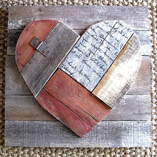 Rustic pallet wood valentine's day heart, by Scavenger Chic, featured on Funky Junk Interiors
