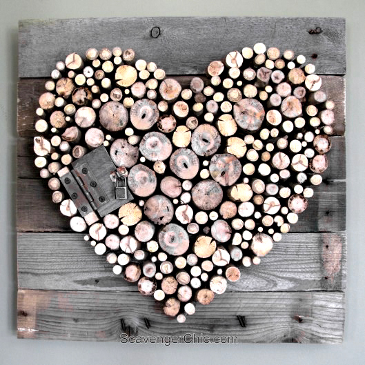 Pallet wood and sticks valentine heart by Scavenger Chic, featured on Funky Junk Interiors