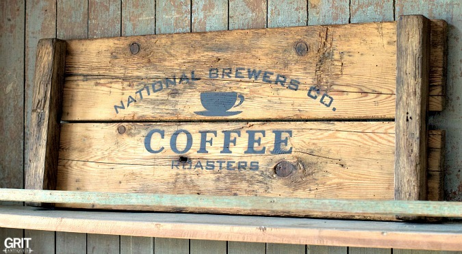 Crate Coffee Roasters tray, by Grit Antiques, featured on Funky Junk Interiors