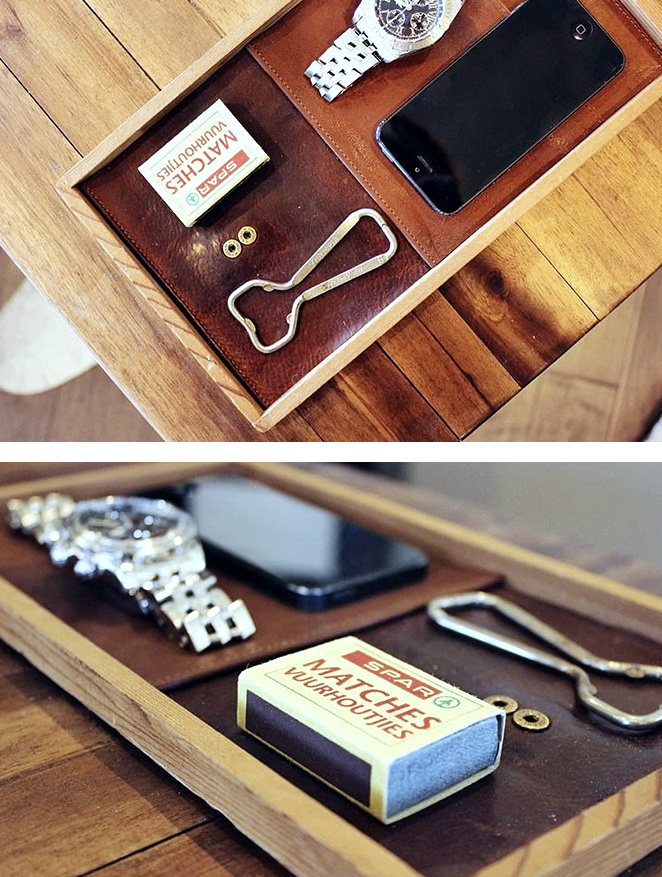 A LEATHER CATCHALL TRAY by Make and Do Crew, featured on Funky Junk Interiors