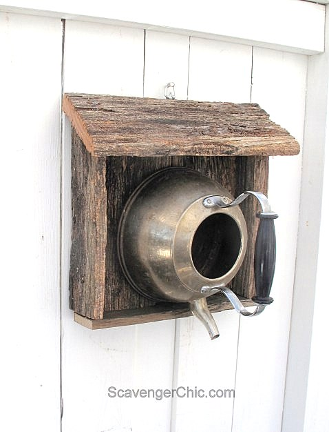 Tea kettle bird nest, by Scavenger Chic, featured on Funky Junk Interiors