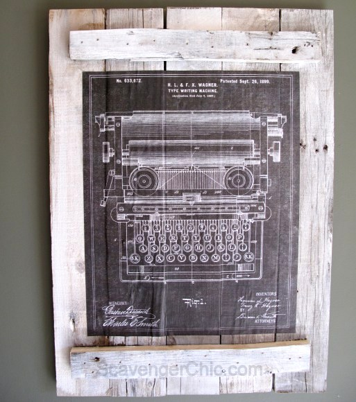 Pallet wood wall art from vintage drawings, by Scavenger Chic, featured on Funky Junk Interiors