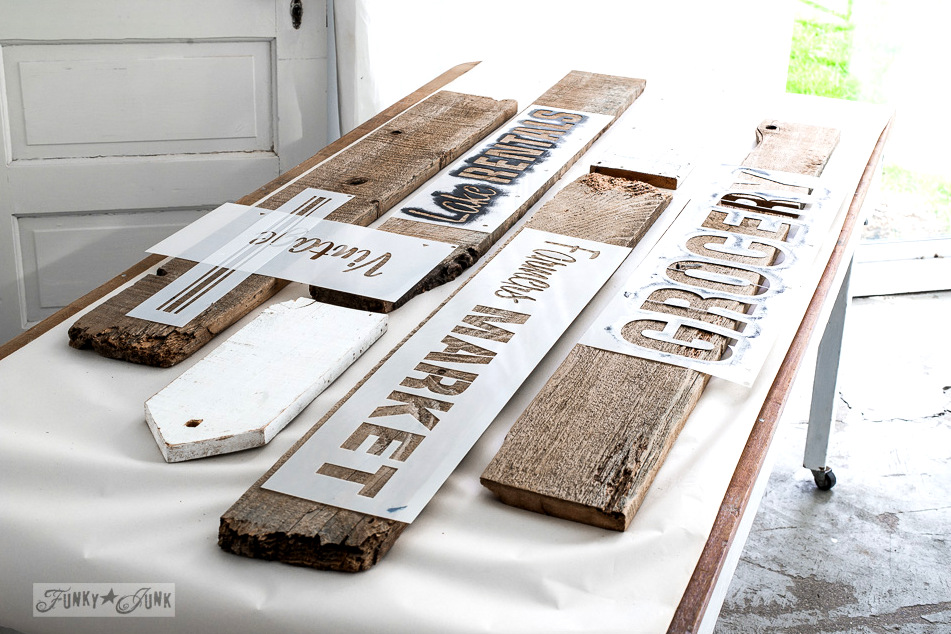 laying out a stencil design / Old sign office wall organizer made with Funky Junk's Old Sign Stencils / funkyjunkinteriors.net