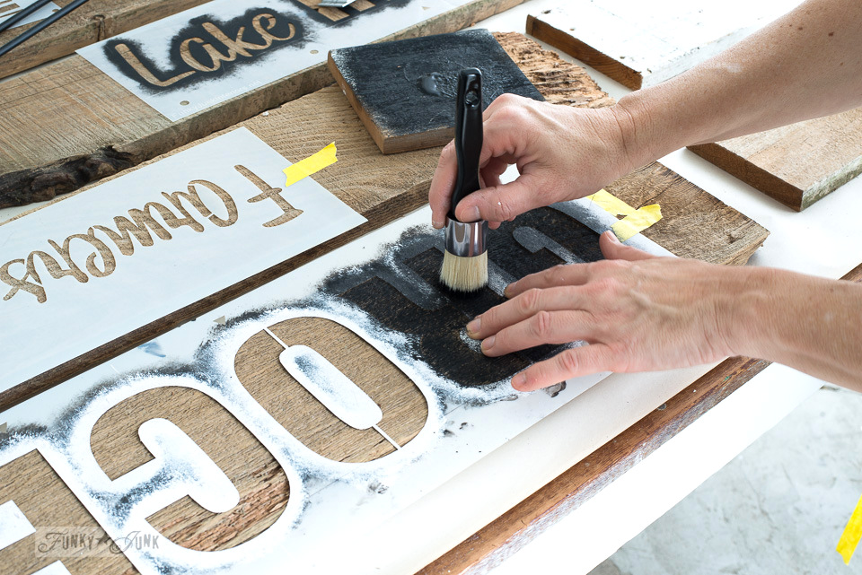 Stencilling on reclaimed wood using Funky Junk's Old Sign Stencils / funkyjunkinteriors.net
