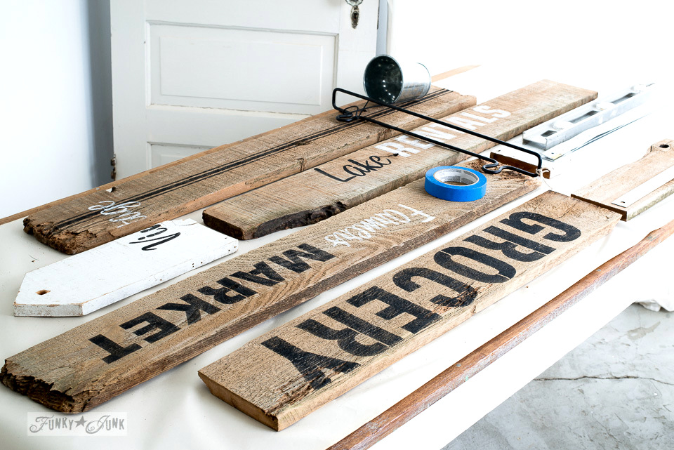 Old sign office wall organizer made with Funky Junk's Old Sign Stencils / funkyjunkinteriors.net