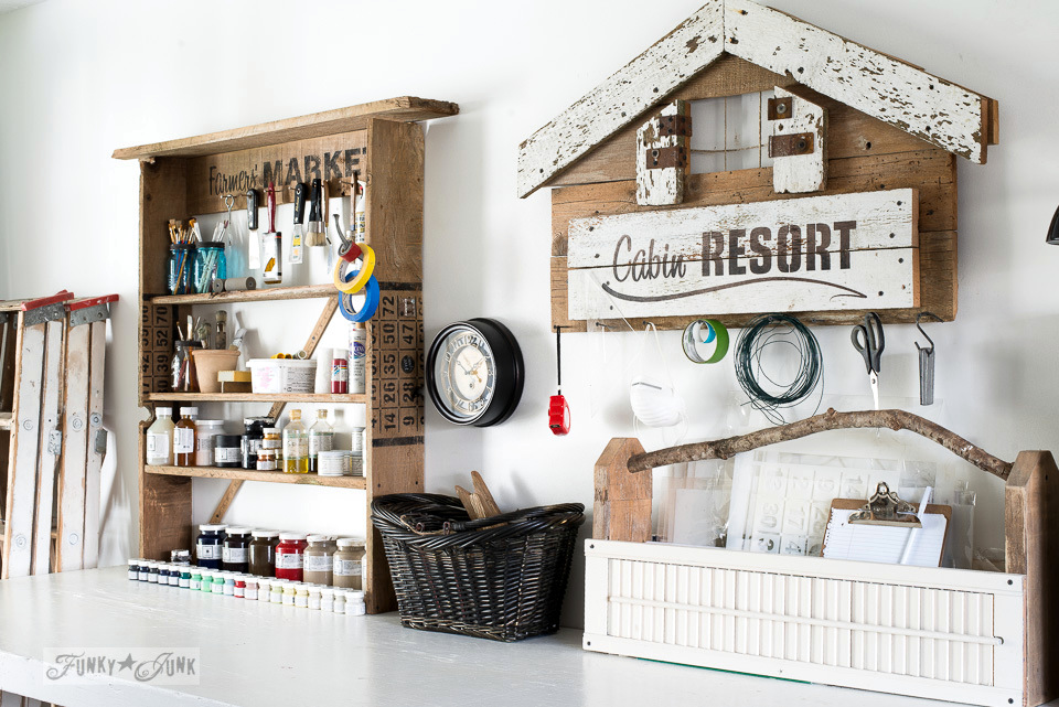 Reclaimed wood shelf and Cabin shaped sign for workshop storage using Funky Junk's Old Sign Stencils / funkyjunkinteriors.net