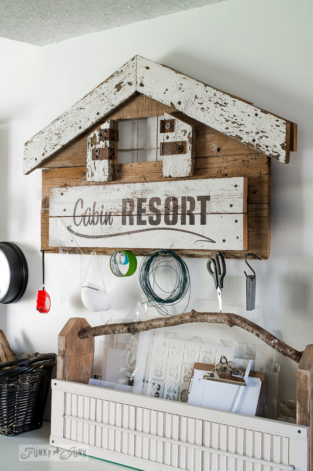 Cabin Resort sign tool holder with Funky Junk's Old Sign Stencils / funkyjunkinteriors.net