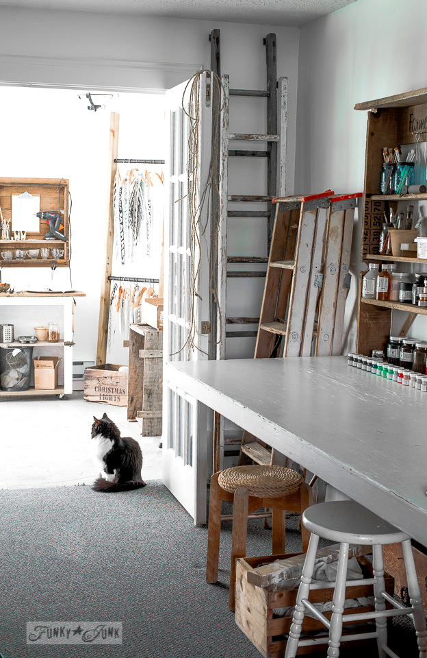 paint and stencil studio in a basement / funkyjunkinteriors.net