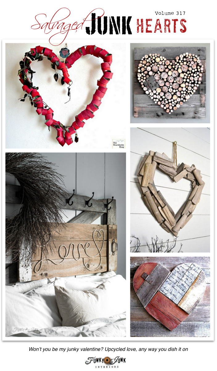 Learn how to make these Salvaged Junk Hearts for Valentine's Day from paper, wood scraps, rope, etc! #valentinesday #valentines #hearts #funkyjunkinteriors