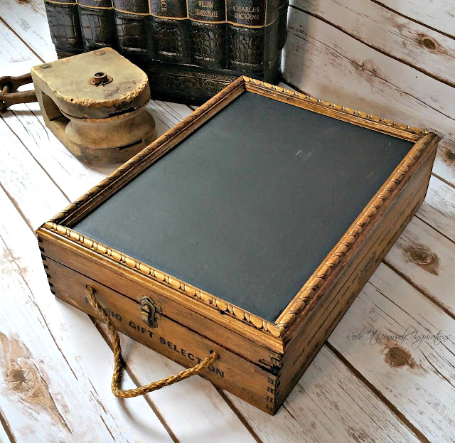 Upcycled wine bottle chalkboard crate, by Re-do It Yourself Inspirations, featured on Funky Junk Interiors