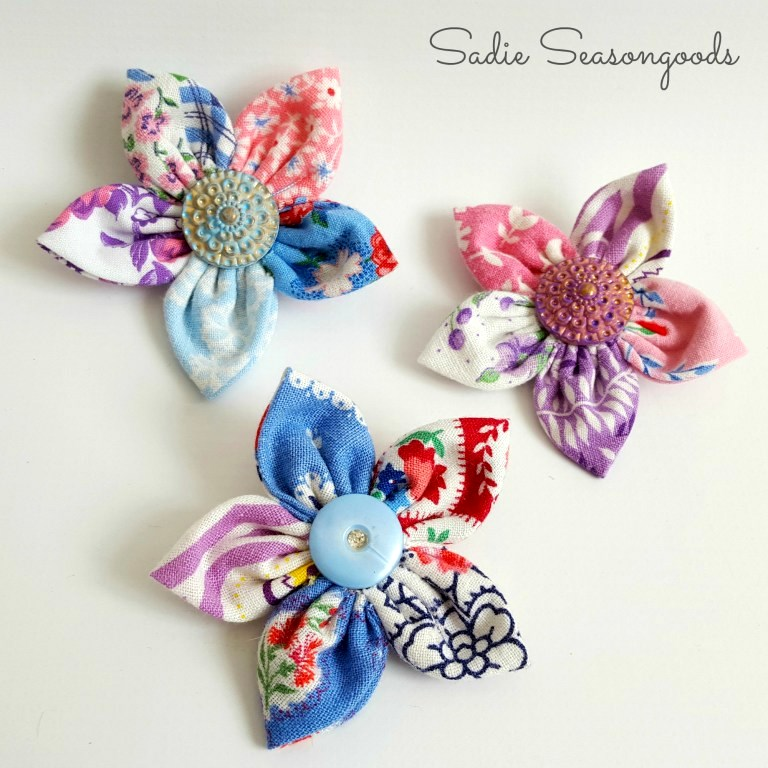 Craft Stash Flower Brooches by Sadie Seasongoods, featured on Funky Junk Interiors