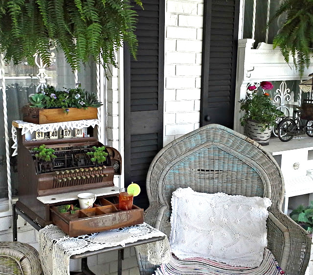 Vintage Cash Register plant stand, by Pennie's Vintage Home, featured on Funky Junk Interiors