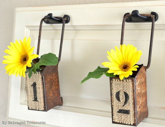 Conveyer belt flower buckets, by My Salvaged Treasures, featured on Funky Junk Interiors