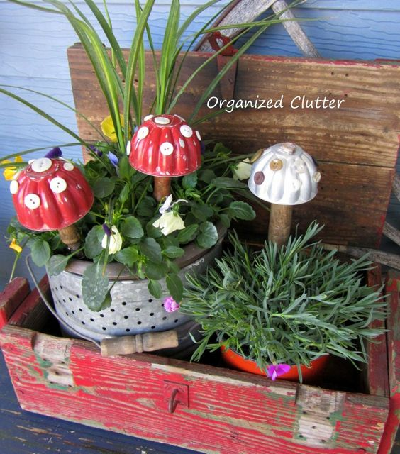 Vintage jello mould toadstools in a crate, by Organized Clutter, featured on Funky Junk Interiors
