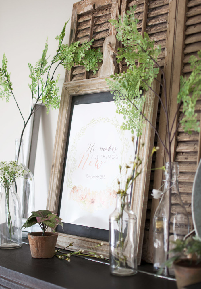 Botanical Farmhouse Mantel | Free Spring Printable, by Cherished Bliss, featured on Funky Junk Interiors