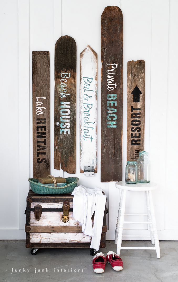 Make these beach and lake signs with the Getaway Collection from Funky Junk's Old Sign Stencils